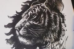 Тату эскиз голова тигра