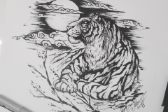 Тату эскиз тигр