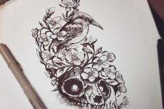 тату эскиз череп зайца и птица