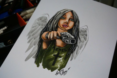 тату эскиз девушка и пистолет