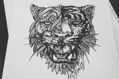 тату эскиз тигр и орнмент