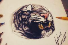 тату эскиз тигр оскал