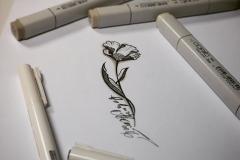 тату эскиз цветок  и стебель