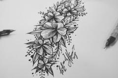 тату эскиз цветы сакуры