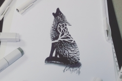 тату эскиз волк из леса